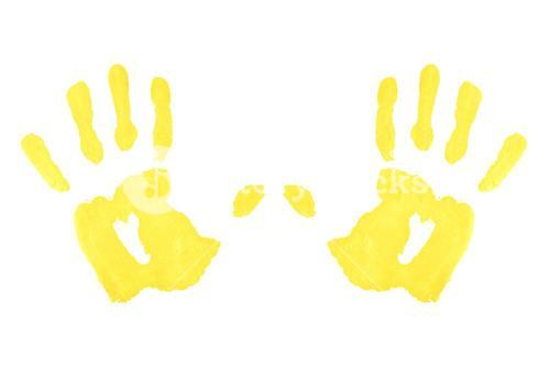 Two yellow symmetric handprints