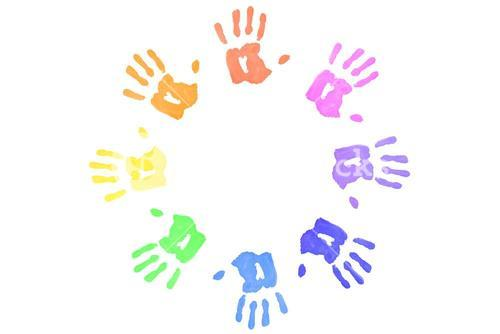 Multicolored handprints forming a circle