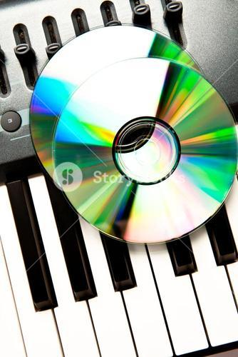 Close up of a compact disc on a synth