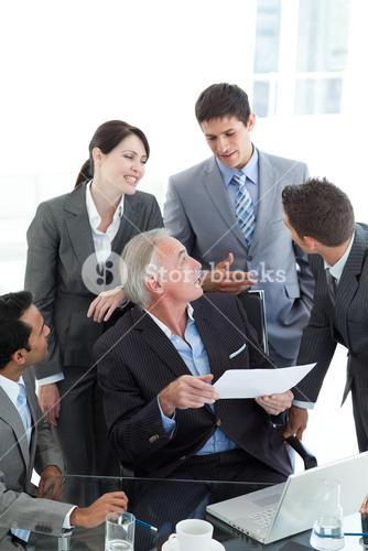 Business people discussing a contract