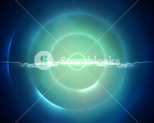 Blue and light green circle with a lightning in the middle