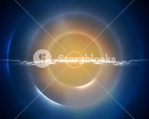 Blue and light orange circle with a lightning in the middle