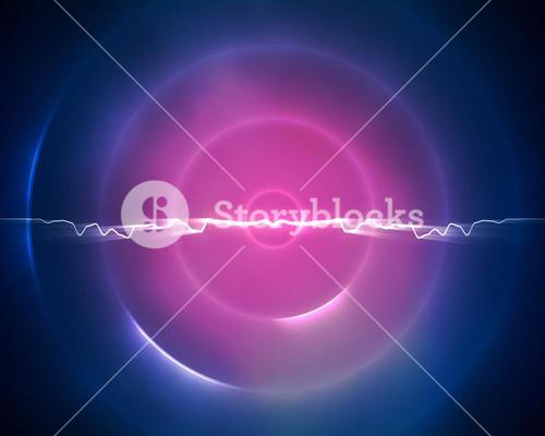 Blue and purple circle with a lightning in the middle