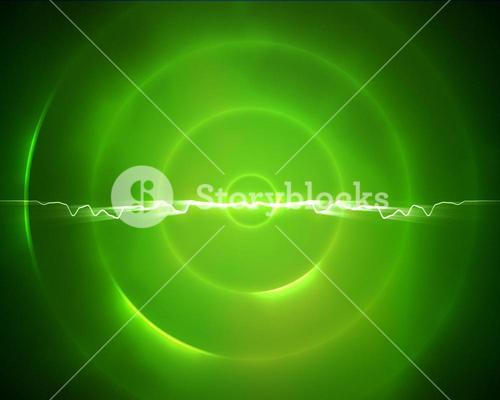Green circle with a lightning in the middle