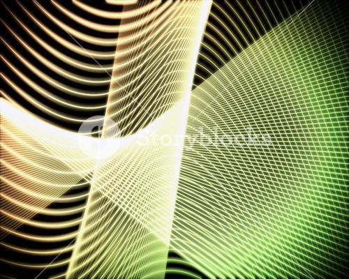 Volute of green and yellow lines