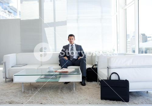 Portrait of a businessman in a waiting room