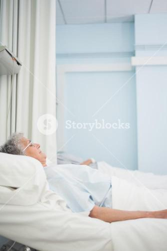 Patient lying on a medical bed