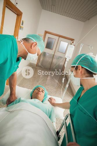 Patient asleep on a medical bed