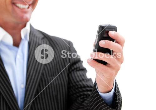 Businessman holding a phone on whitebackground