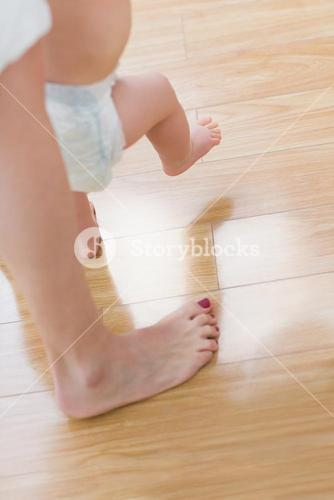 Close up of a baby walking
