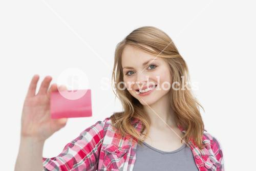 Woman holding a loyalty card