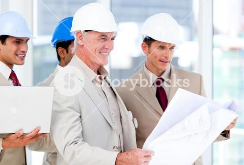 Architect team working on a building project