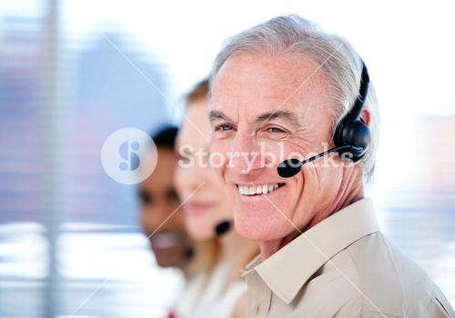 Selfassured sales representative team with headsets