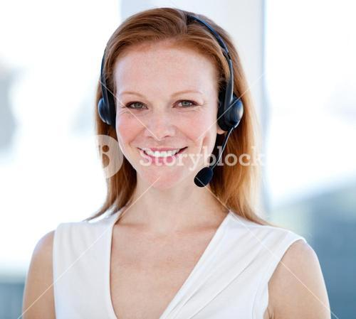 Sales representative woman with an headset