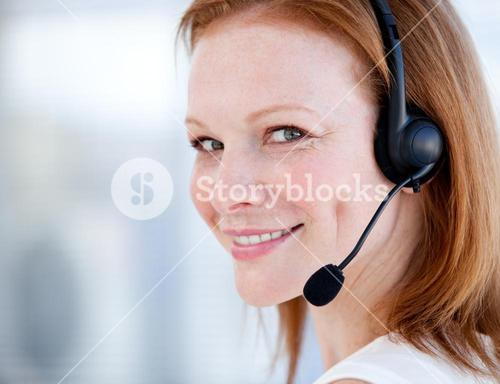Cute sales representative woman with an headset