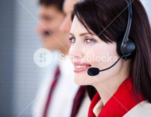 Concentrated sales representative team with an headset