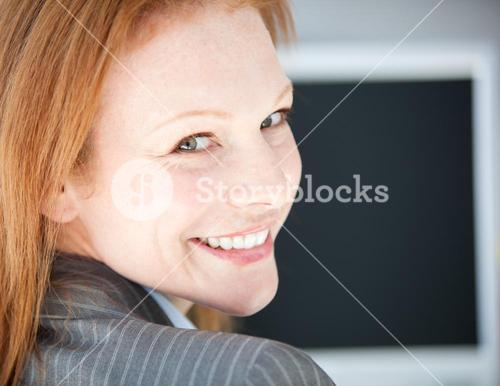 Selfassured business woman working on a computer