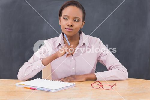 Teacher looking away while thinking