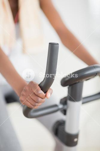 Focus on an exercise bike