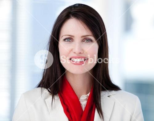 Portrait of a radiant businesswoman standing