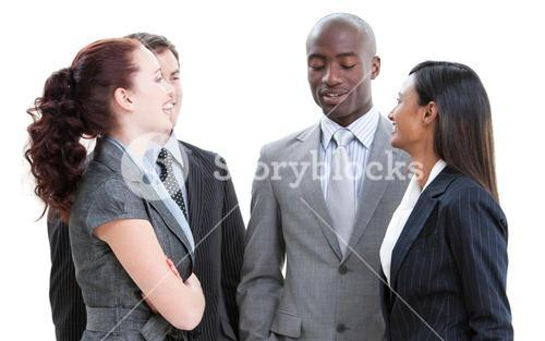 Close up of a charming business people interacting standing
