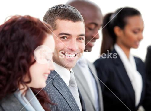Smiling business people in a meeting