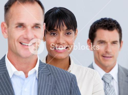 Confident business partners standing in a line