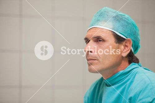 Unhappy surgeon in a hospital