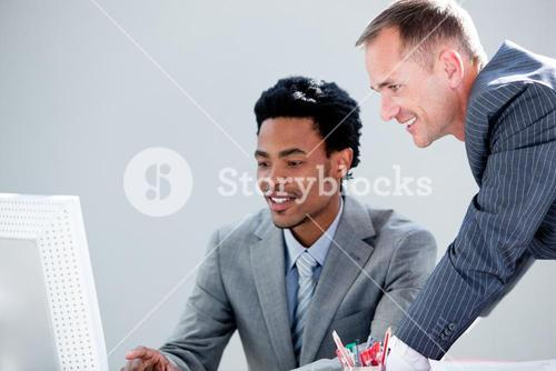Smiling partners working with the computer
