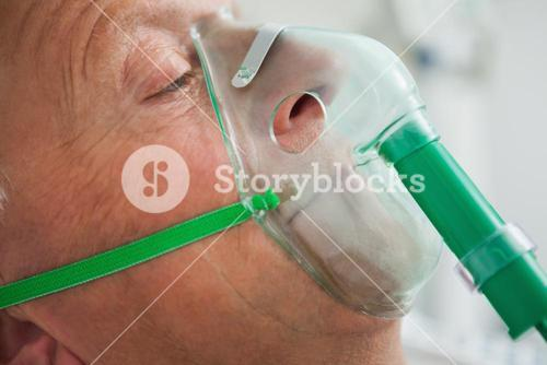 Man wearing oxygen mask