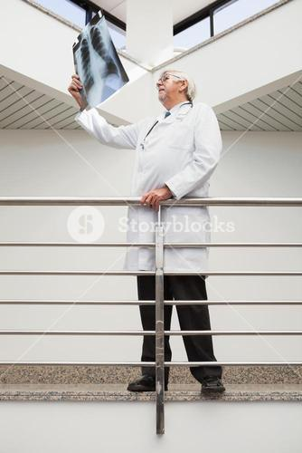 Doctor looking at xray leaning against railing