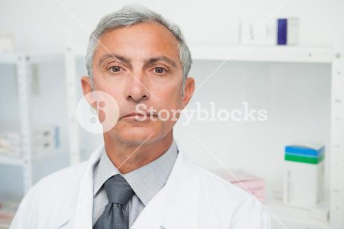 Doctor is looking into the camera