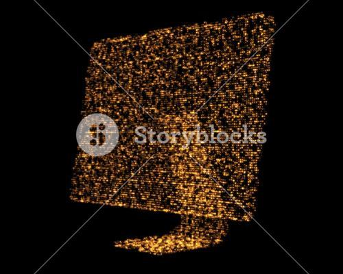 Orange shimmering computer screen