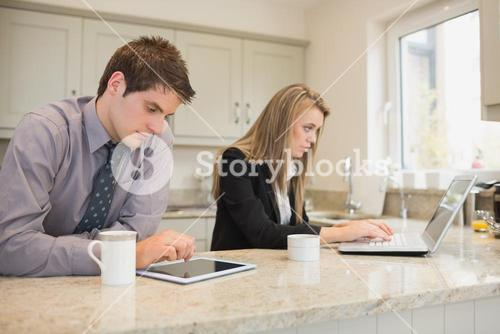 Concentrated couple surfing in the internet