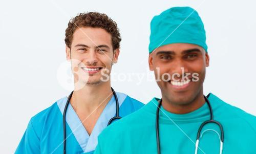 Portrait of two lively doctors