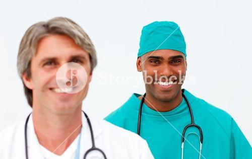 Portrait of two selfassured doctors