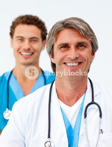 Portrait of two successful doctors