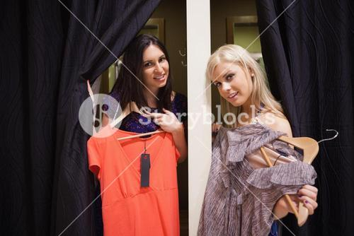 Women standing in the changing room