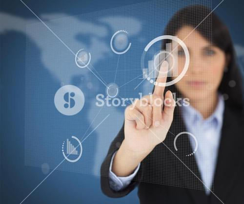 Woman with black hair touching button screen