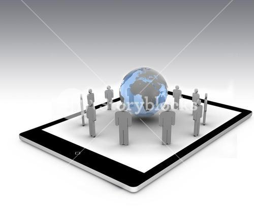 Stick figures around the blue globe on a tablet pc