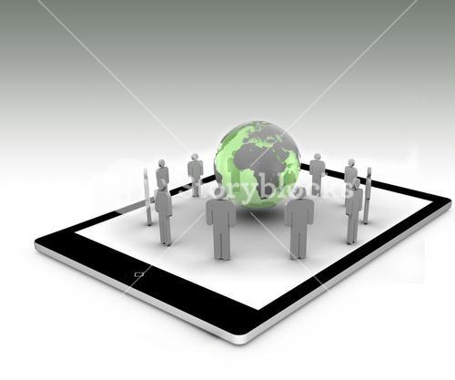Stick figures around the green globe on a tablet pc