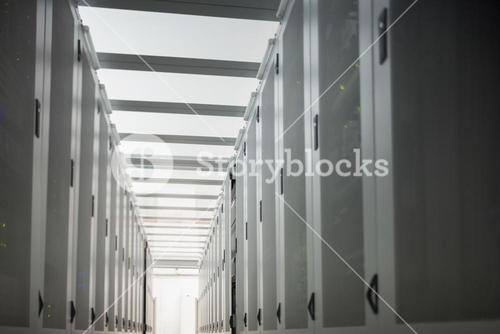 Hallway with data stores