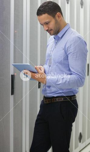 Technician doing data storage