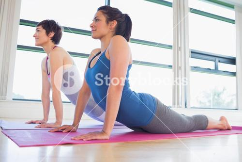 Women doing cobra yoga pose