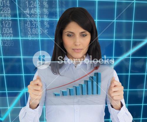 Woman holding hologram of graph
