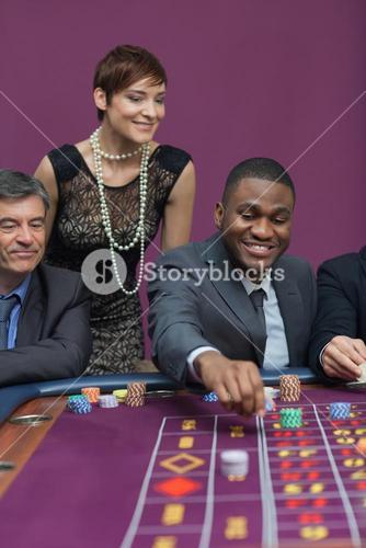 Bets being placed at roulette table