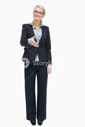 Businesswoman wanting to shake hands
