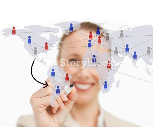 Woman linking figures on world map