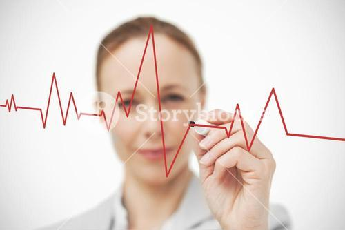 Woman drawing ECG line