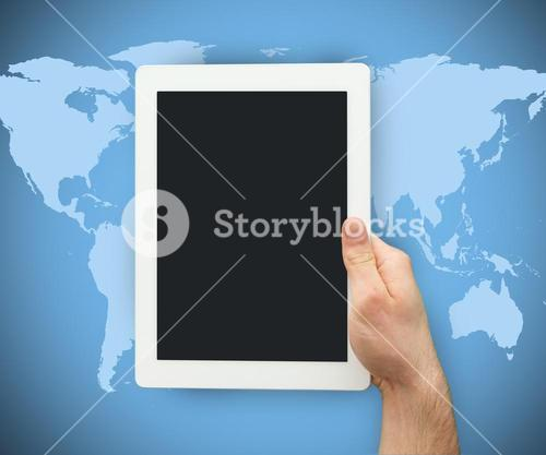 Person is holding a tablet PC